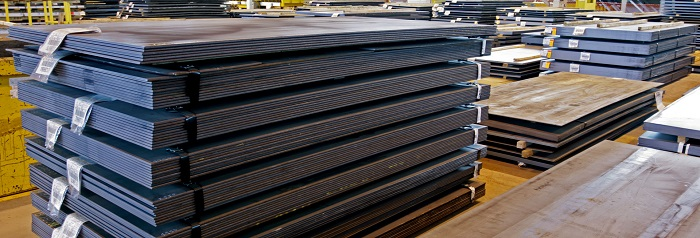 Rows of Carbon steel plates in manufacturing plant