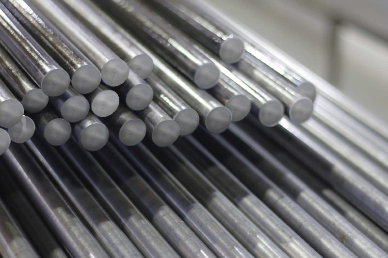 Stack of low carbon steel rods, ready for construction